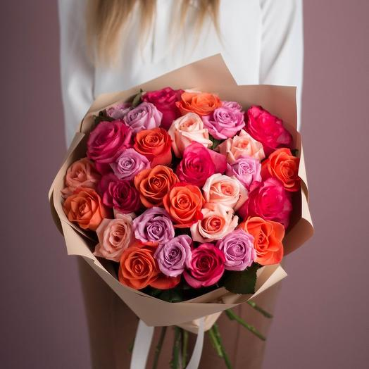 25 роз Яркий микс