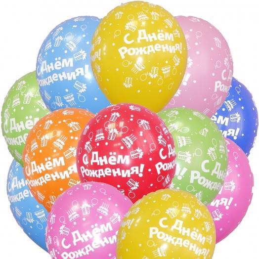 """15 гелиевых шаров """" С днем рождения"""": букеты цветов на заказ Flowwow"""