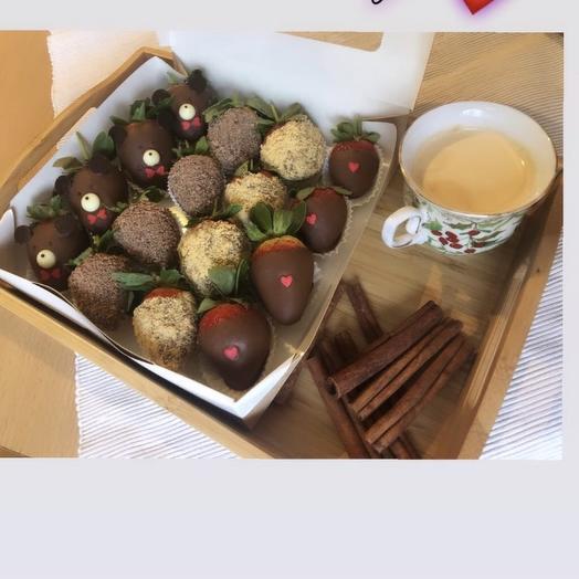 Набор клубника в шоколаде, 16 шт: букеты цветов на заказ Flowwow