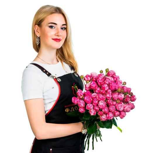 15 пионовидных роз Малина с белым: букеты цветов на заказ Flowwow