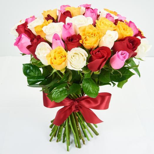 Охапка из кенийских роз (51 шт)