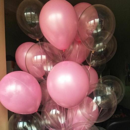 Каскад из 29 прозрачных и розовых шариков