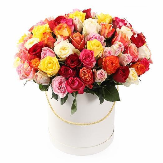 Коробка из 51 Разноцветной Розы