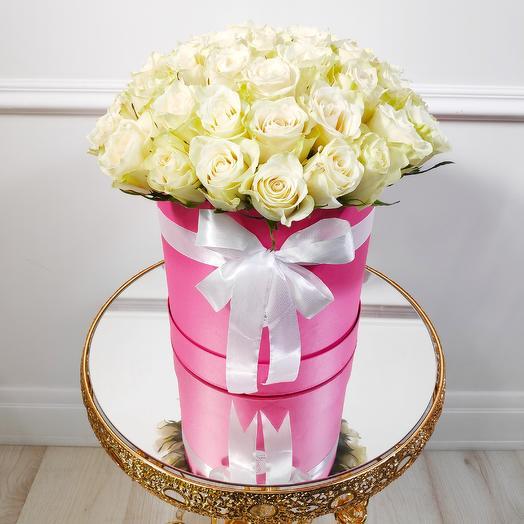 Коробочка из 51 белой розы 2XL(коробка конфет в подарок, условие в описании)