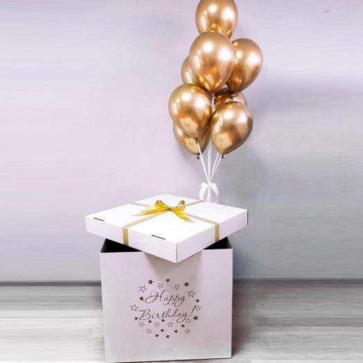 Коробка сюрприз с золотыми шарами