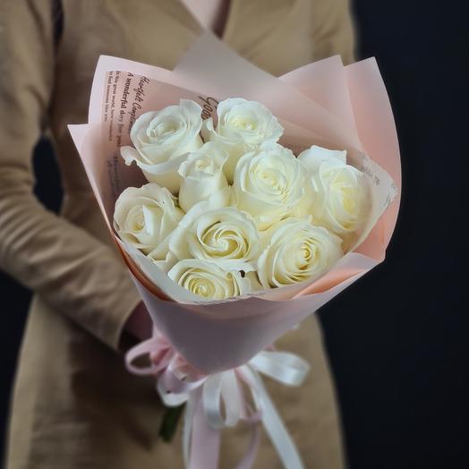 9 белых роз 🌿 Нежный букет