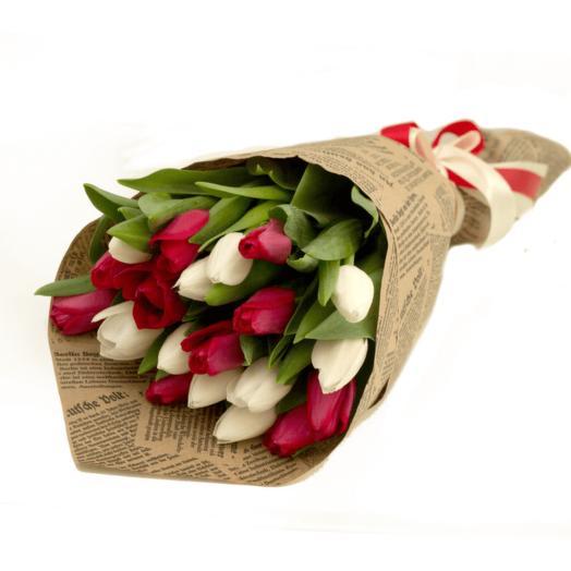 21 тюльпан в упаковке
