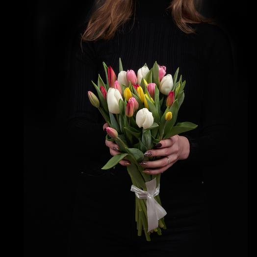 25 тюльпанов микс премиум в букете