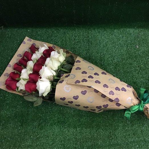 21 роза 70см в крафте!: букеты цветов на заказ Flowwow