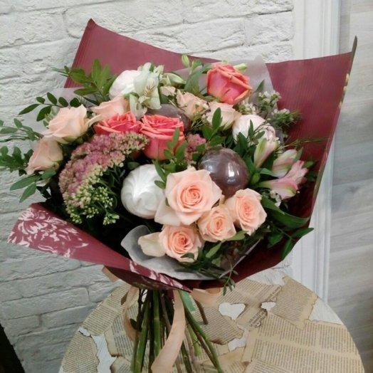 Букет с зефиром: букеты цветов на заказ Flowwow