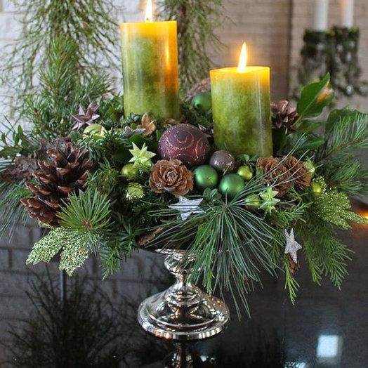 Новогодняя композиция «Крещенский вечерок»: букеты цветов на заказ Flowwow