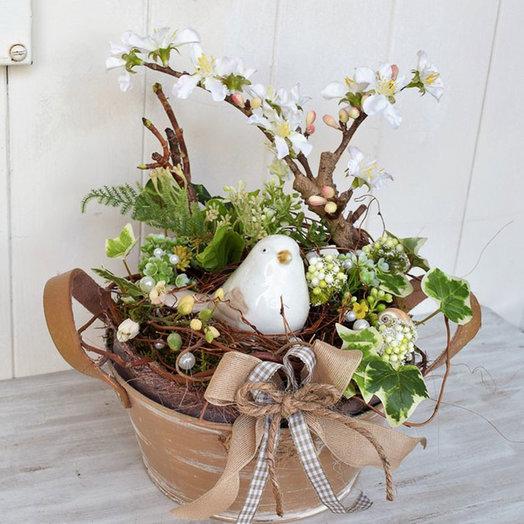 Композиция на пасху «Птичка»: букеты цветов на заказ Flowwow