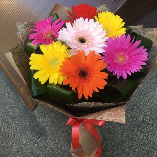 Bouquet of 7 multi colored gerberas with registration: flowers to order Flowwow