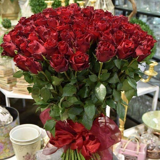 Bouquet of 101 roses L: flowers to order Flowwow