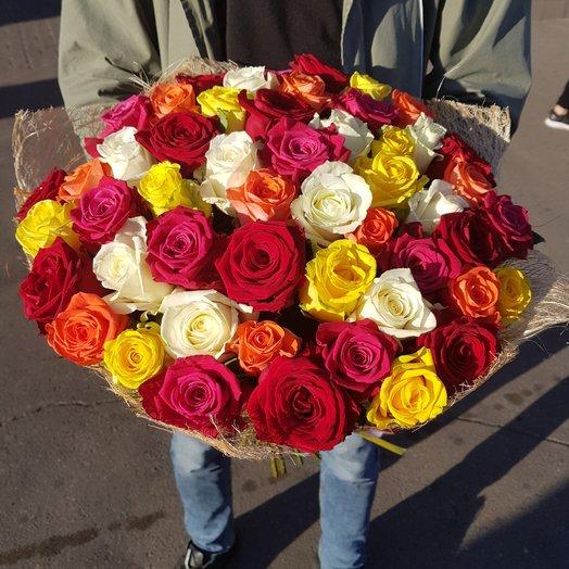Букет из 51 розы MIX: букеты цветов на заказ Flowwow