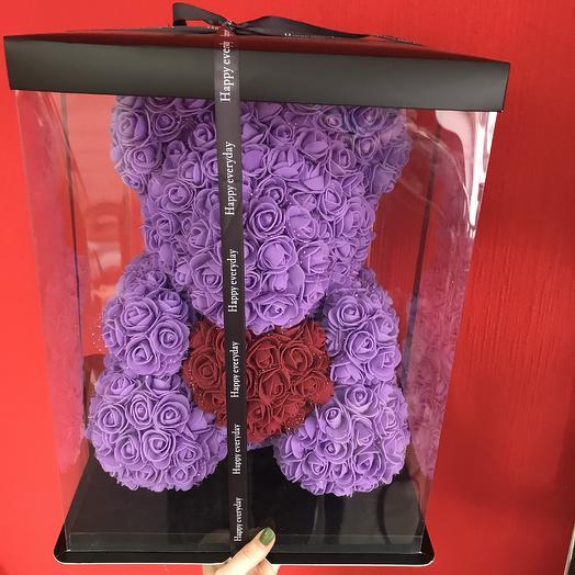 Медведь из роз, фиолетовый: букеты цветов на заказ Flowwow