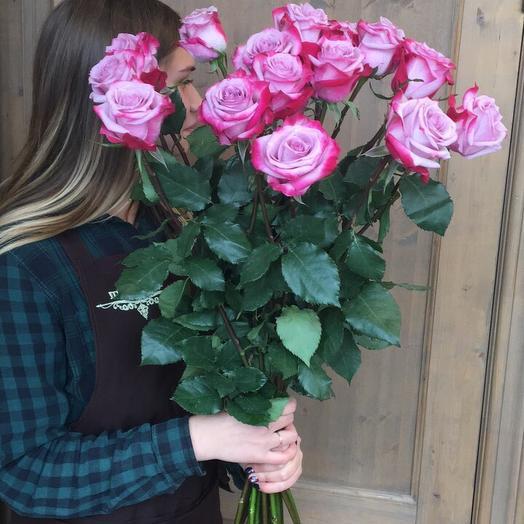"""Букет из роз """"15 розочек фиолетоых"""""""
