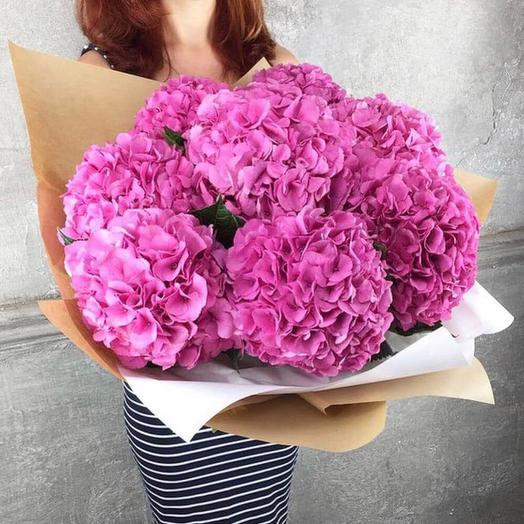Букет из 9 розовых гортензий: букеты цветов на заказ Flowwow