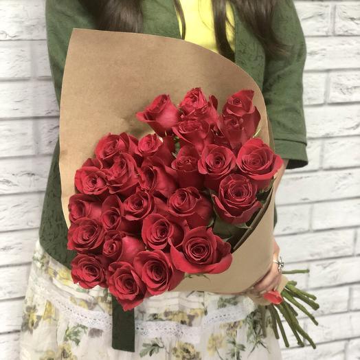 23 розы в крафте: букеты цветов на заказ Flowwow