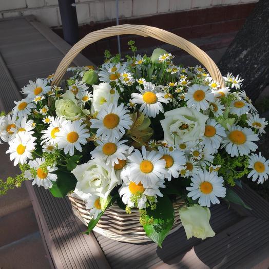 Корзина ромашек: букеты цветов на заказ Flowwow