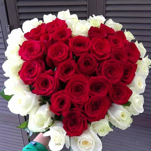 """Букет из 51 розы """"Сердце"""""""