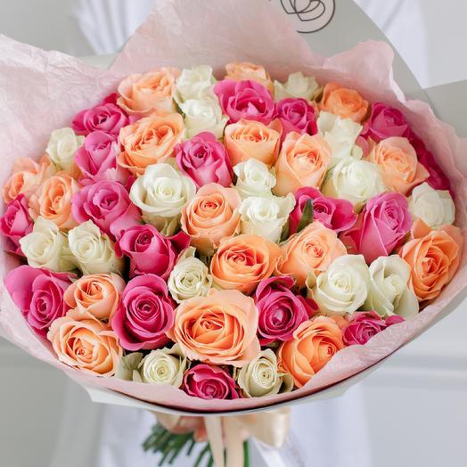 Букет из 51 розы микс в нежных тонах (Кения) 40 см Standart