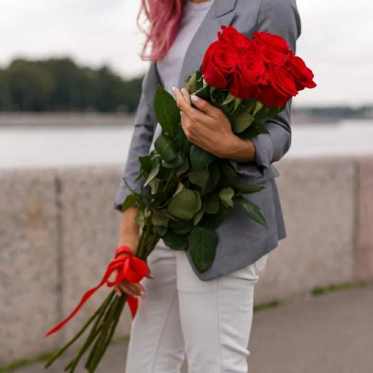 7 красных роз 70см