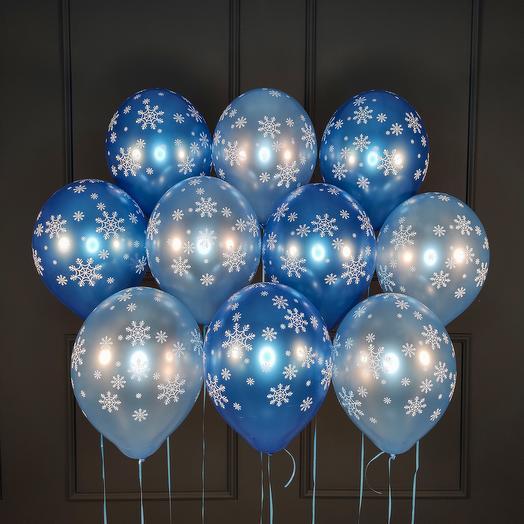 Синие и голубые шарики металлик со снежинками 15 шт