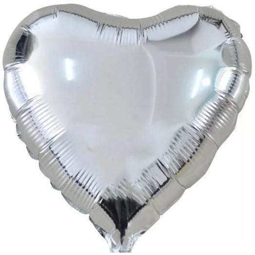 Сердце металлик фольгированное