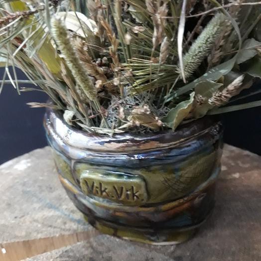 Кашпо ручной работы с букетом из сухоцветов