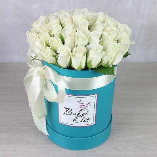 51 белая роза в коробке (Кения)