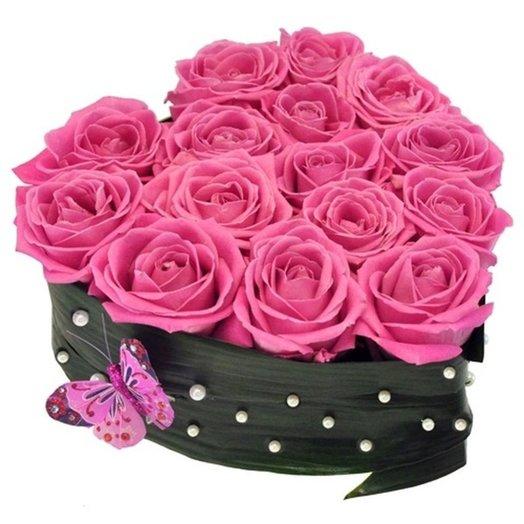 Композиция От чистого сердца из розовых роз Код 170010