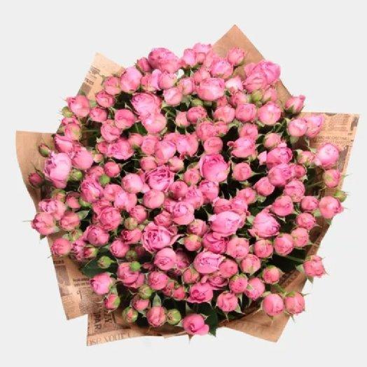 Букет из 15 розовых кустовых роз: букеты цветов на заказ Flowwow