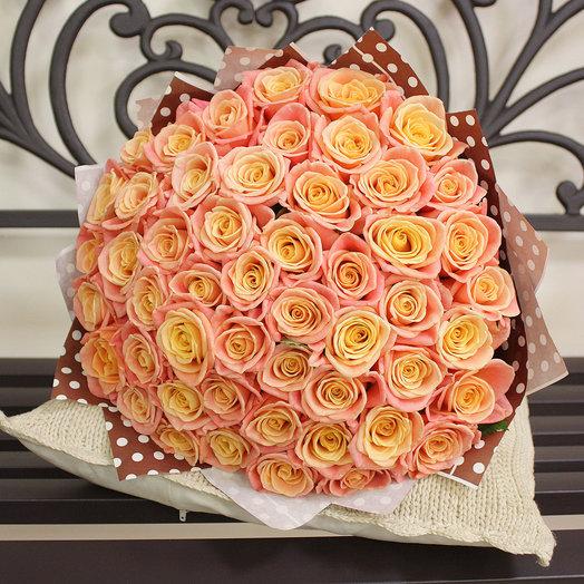 Букет из 51 розы 50 см. мисс пигги: букеты цветов на заказ Flowwow