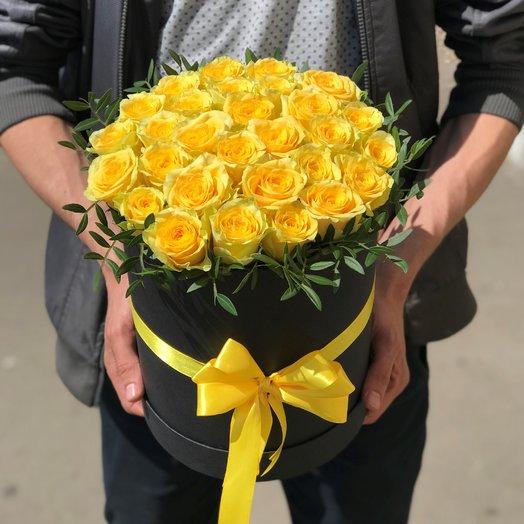 Коробки с цветами. Розы.  29 шт .Желтые Розы. N91