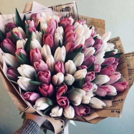 101 тюльпан ( светло - розовая гамма ): букеты цветов на заказ Flowwow