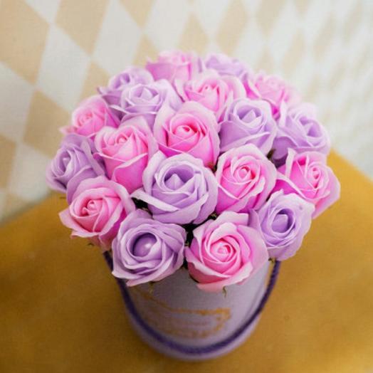 Сиреневое утро.Роза из мыла