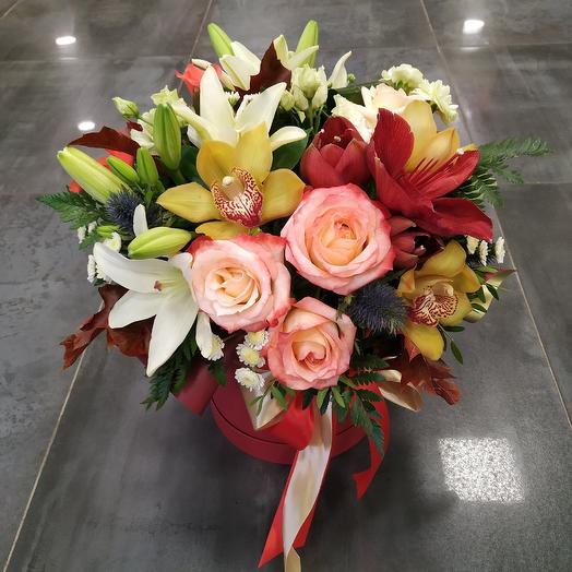 "Большая шляпная коробка ""Роскошь"": букеты цветов на заказ Flowwow"