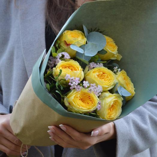 "Букет желтых пионовидных роз ""Каталина"": букеты цветов на заказ Flowwow"