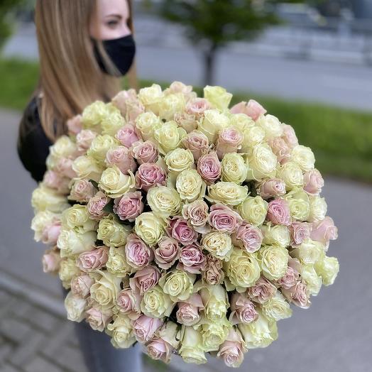101 роза 60см белые и нежно-розовые