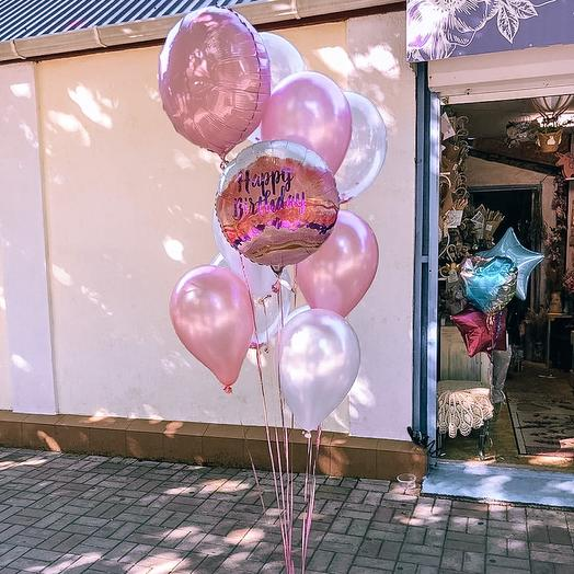 Розовый фонтан «С днем рождения»