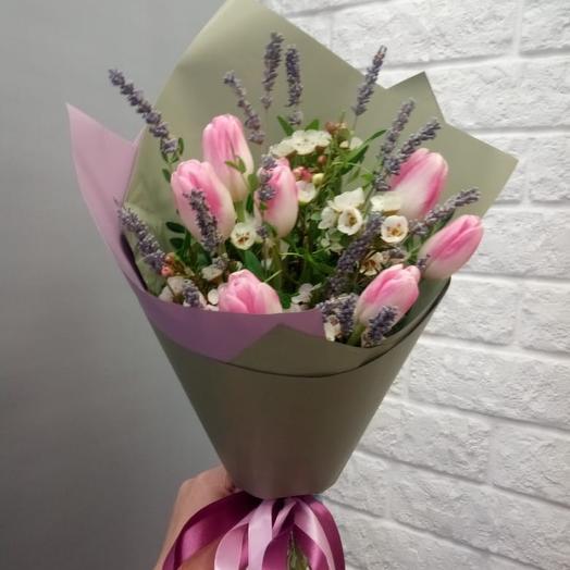 Тюльпаны розовые и лаванда