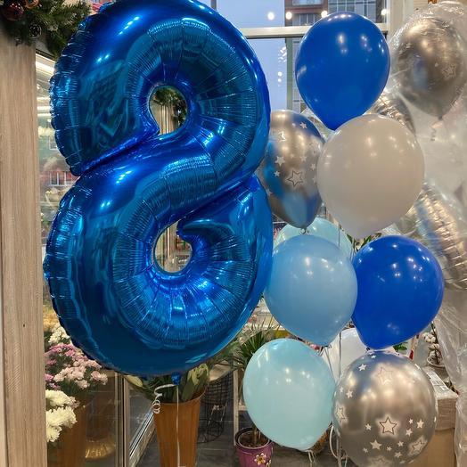 Сет из воздушных шаров с цифрой