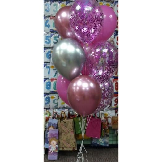 Букет из гелиевых шаров в розово-сиреневом цвете