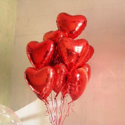 Шар красное сердце 11 шт