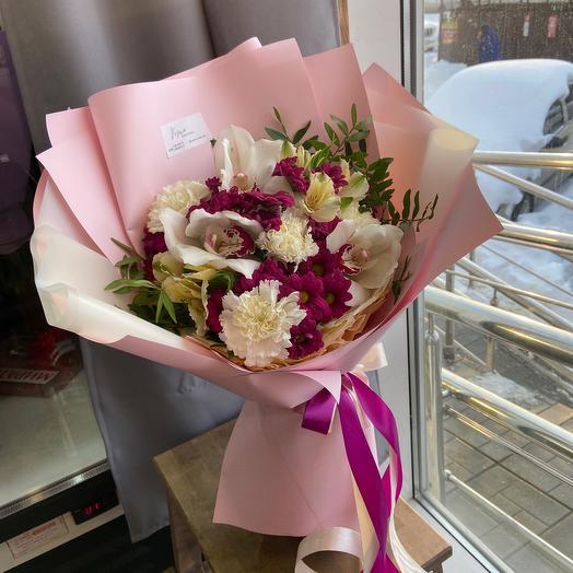 Букет с орхидеями/ букет авторский /стильный букет