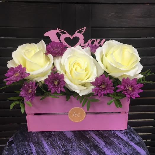 Ящик с цветами «I love you