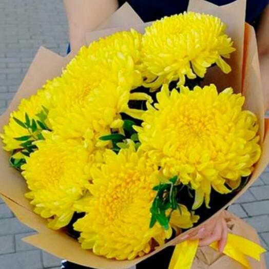 Жёлтые шары-хризантемы