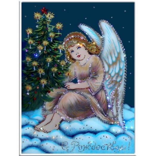 """Картина с кристаллами Swarovski """"Рождественский ангел"""""""