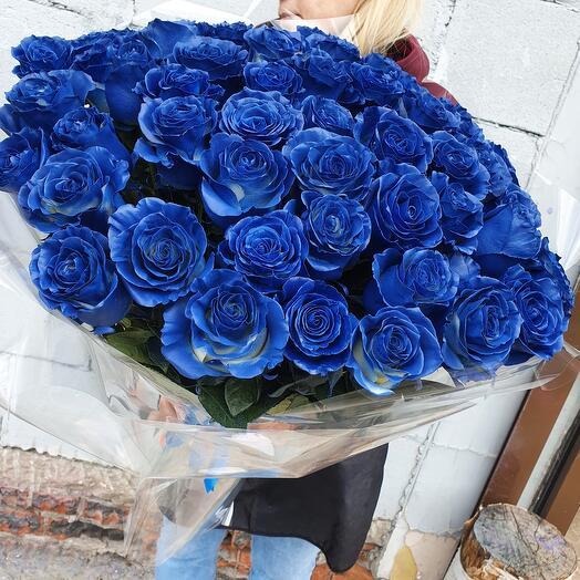 """Букет синих роз """"Сапфир"""" 51 шт"""
